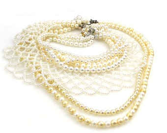5b79b0b27 WHOLESALE Bulk Buy Lot - Vintage   Retro Faux Pearl Necklace Group Pearl  choker