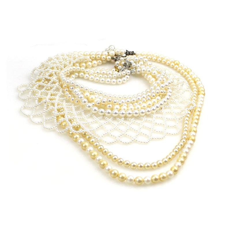 56d9d6bfcc1 WHOLESALE Bulk Buy Lot - Vintage & Retro Faux Pearl Necklace Group Pearl  choker , pearl collar , marcasite clasp etc 6 pieces - Job lot 72