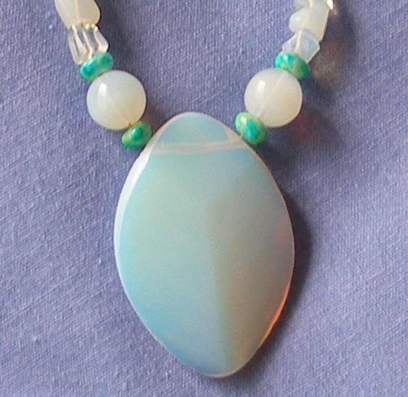 ENCHANTING OPALITE NECKLACE with Sterling Silver Earrings