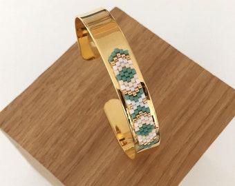 Woven pink & turquoise Cuff Bracelet / / FLAVIE