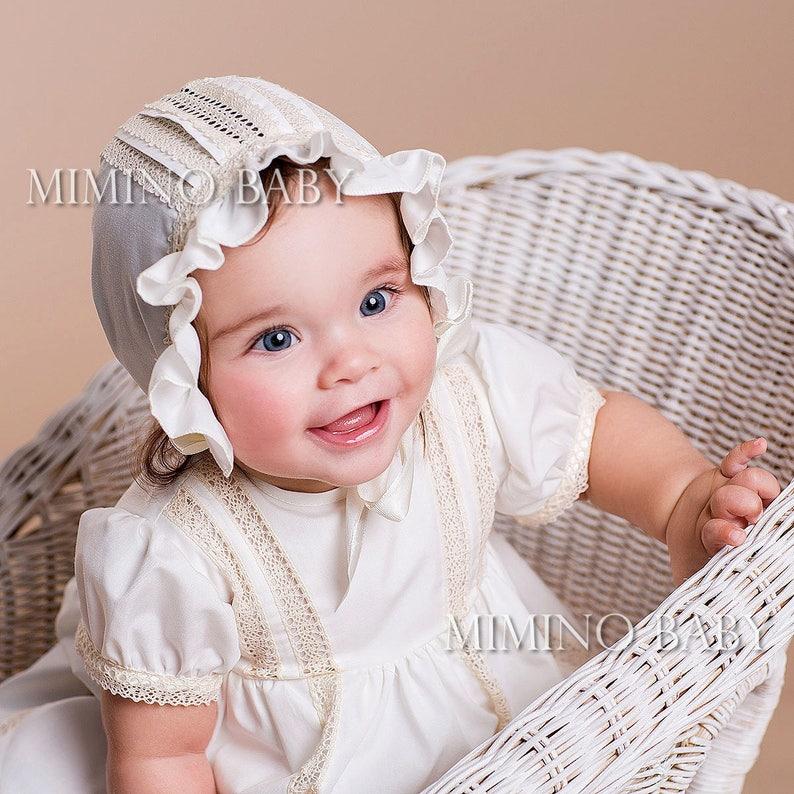 930e64636 VINTAGE christening bonnet, baby girl christening hat, girls baptism hat,  christening headband, girl baptism outfit, Coiffure de baptême