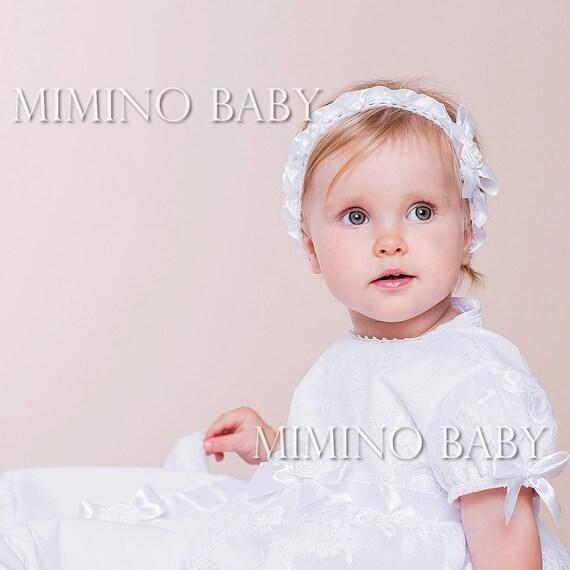 Baby Mädchen Stirnband Babystirnband Taufe Stirnband Spitzestirnband Barbra Taufe Stirnband Haarband Stützen Stirnband Stirnband