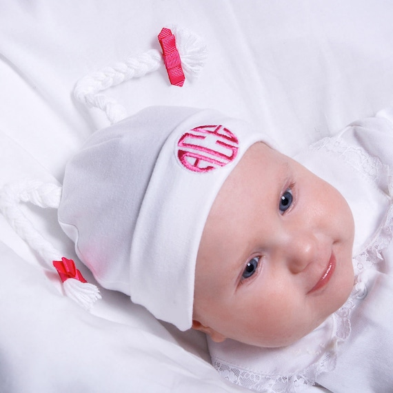 Monogrammed Baby Girl Hat Personalized Baby Hat Newborn Baby  b0770acd074