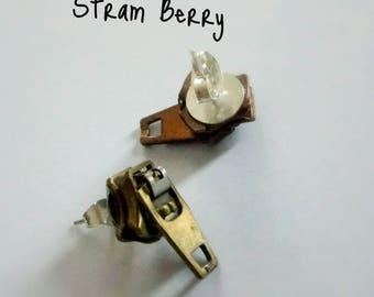Small Recycled zipper Earrings