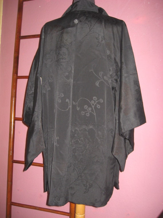 classy Haori arabesk silk jacket black long elegant Vintage thinly woven silk kimono jacket hand-stitched unique