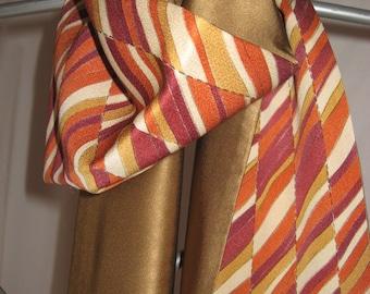 Scarf, new from vintage high-class kimono silk, Mulberry silk, unique, autumnal ocher, winery, geometry, kimono scarf, kimono remake