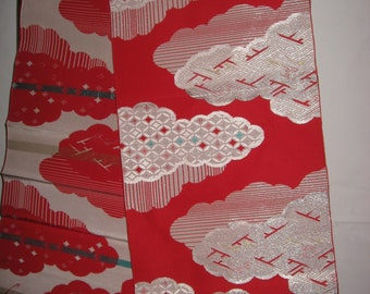 Obi, vintage, section, silk ribs, enchanting cloud pattern, DIY, vintage material for accessories and home decorations