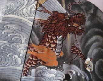 Kimono, Ryū, Vintage, Hand-sewn, Man, Men, Unisex, Excellent, with/without belt, Dragon motif, Wave motif, Pure wool, Cleaned