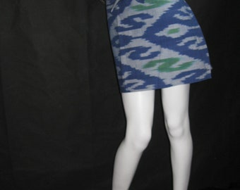 Wrap skirt, skirt, U N I K A T! Blue/green, Cotton/Silk, Ikat weaving, Uzbekistan, Miniskirt, Boho, Hippie