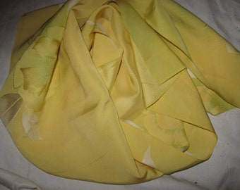 Kimonoseide, 110 cm x 37 cm, noble, DIY, material, for scarves, cushions, bags, bags, tops and other treasures, yellow/green, flower