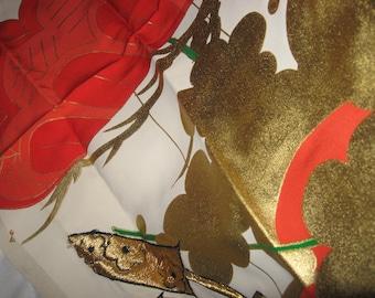 Japanese silk, 55cmx38cm, coated, wedding skimono, cherry blossom, material, DIY, fabric in Japanese vintage wedding ski mono
