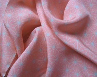 Kimonoseide DIY, MATERIAL, Asanoha, First Blush, 1.5 m, ... almost a scarf, silk, kinsha, limited, high class, dream silk, supersoft