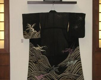 Kimono, silk, antique, sensationally beautiful silk coat, HIKIZURI, Dancing Kimono, Ro-silk, soft, Amazing, wave motif, Hokusai