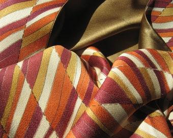 Scarf, new from vintage high-class kimono silk, silk, silk scarf, unique, autumnal ocher, winery, geometry, kimono scarf, kimono remake