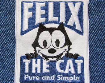 """Felix the Cat with Magic Bag of Tricks 2.5/"""" Iron On Embroidered Patch"""