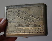 Soviet Cigarette Case Volga USSR. Metal cigarette case USSR. tobacco box. card holder