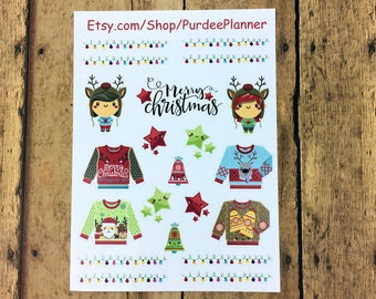 Ugly Sweater, Christmas, Holidays, Planner Stickers, Erin Condren, Recollections, Happy Planner, Cute Stickers, ECLP, Fun, Kawaii.