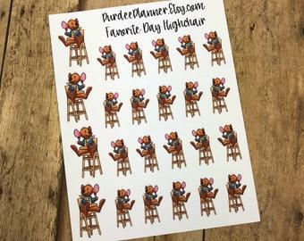 Favorite Day Highchair. Planner Stickers, Erin Condren, Recollections, Happy Planner, Cute Stickers, ECLP, Fun.