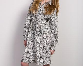 Shirt blouse dress ' face dress ' berduckte cotton oversize