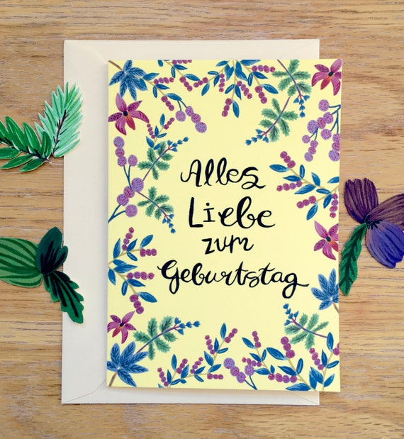 Alles Liebe Zum Geburtstag Happy Birthday Card In German Etsy