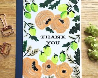 Thank You Card, Floral Thank You Card, Floral Greeting Card