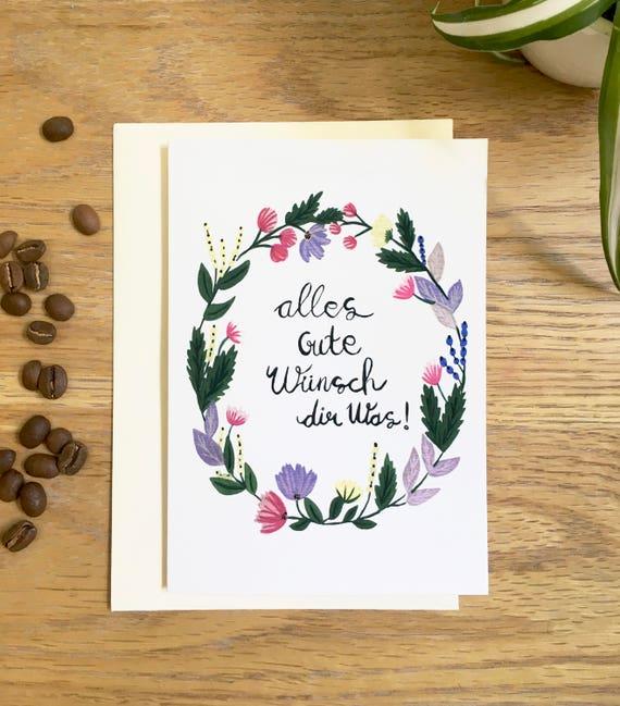 Alles Gute Grusskarte Geburtstagskarte Greeting Card German