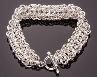 Vipera Berus 4n1 Chain Maille Bracelet, Chain Maille Bracelet, .925 Sterling Silver Bracelet, Chainmail Bracelet, Chainmaille Bracelet, iDu