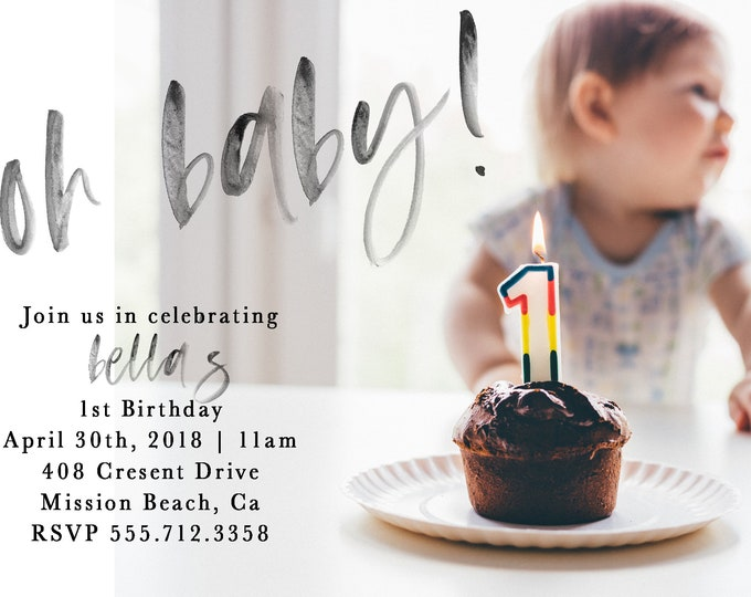 Featured listing image: Personalized First Birthday Invitation, 1st Birthday, Birthday Invitation, Baby Girl, Baby Boy, Girl First Birthday, Boy First Brithday