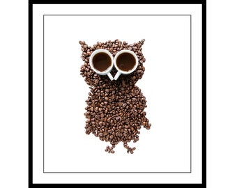 Wall Art Home Decor - Animal Print - Coffee Bean Owl with Espresso Eyes - fine art by Cath Lowe