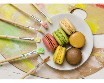 Food Art Photography, Kitchen Art, Painting Macarons landscape photography print - Original fine art photography by Cath Lowe