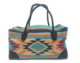 Southwestern Tote Bag or Purse-Southwestern Bear Bag-Zuni Bear Decorated Tote Bag-Denim Carry All-Handmade Tote Bag-One of a Kind Tote Bag