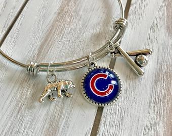 Chicago Cubs MLB Bangle Charm Bracelet
