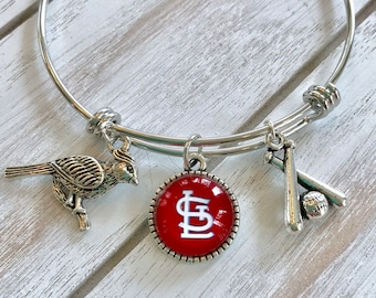 St. Louis Cardinals Bangle Charm Bracelet -- Great Gift for the Cards Fan!