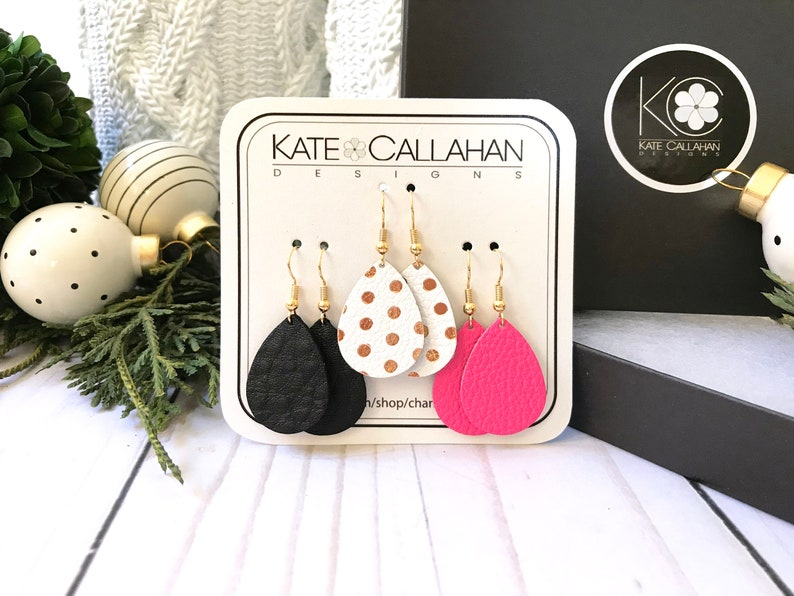 Metallic Polka Dot Black and Hot Pink Genuine Leather Earrings Leather Earring Set Holiday Hostess Gift You Choose Your Favorite Shape