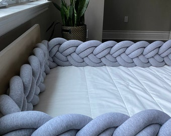 Double Braided Toddler Bed Bumper - Knot Cushion, Bumper Pad, Crib Bedding, Crib Sheets, Toddler Bed, Baby Shower Gift