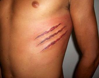 Claw Marks Scars Halloween Temporary Tattoo