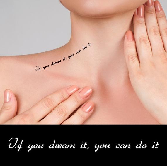 Inspirujące Cytaty Tymczasowe Tatuaże Jeśli Marzysz Możesz To Etsy