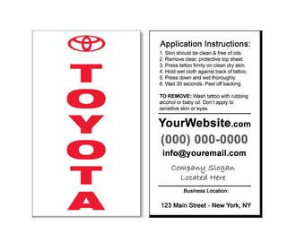 Business card temporary tattoos