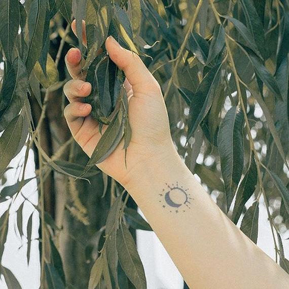Sun Moon Temporary Tattoo Fake Tattoos Etsy