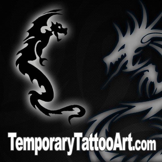 2 X 2 Tattoo: Temporary Tattoo Dragon 2x2 Inch
