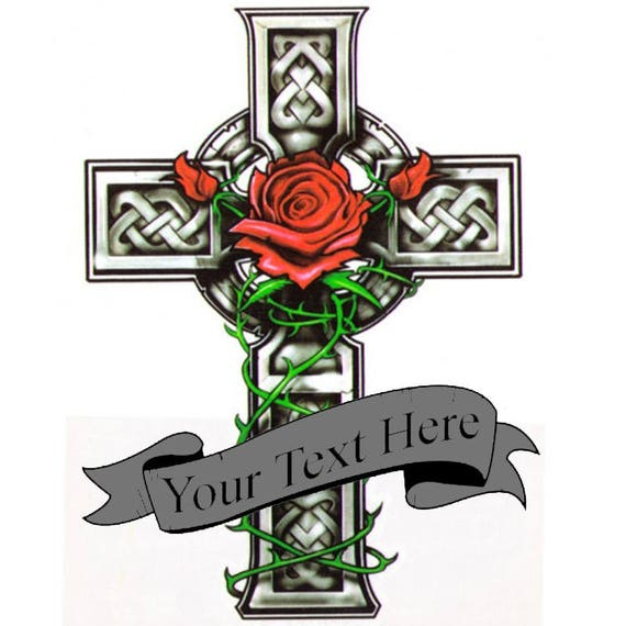 Custom Cross Rose Tattoo Add Text To Fake Tatoo Etsy