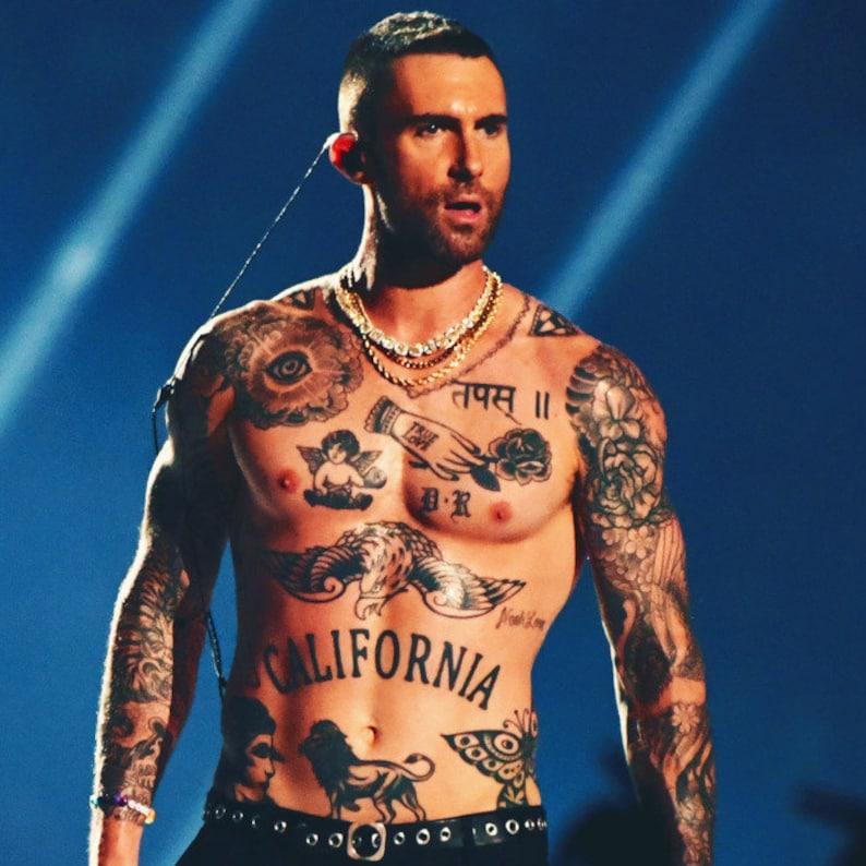 015d6b85e Adam Levine Halloween Temporary Tattoo set | Etsy