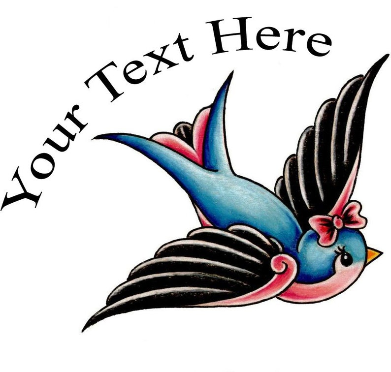 Cute Bird Fake Tattoo Customize with your text | Etsy