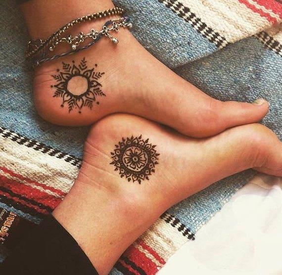 Henna Stars Suns Moons Tattoo Etsy