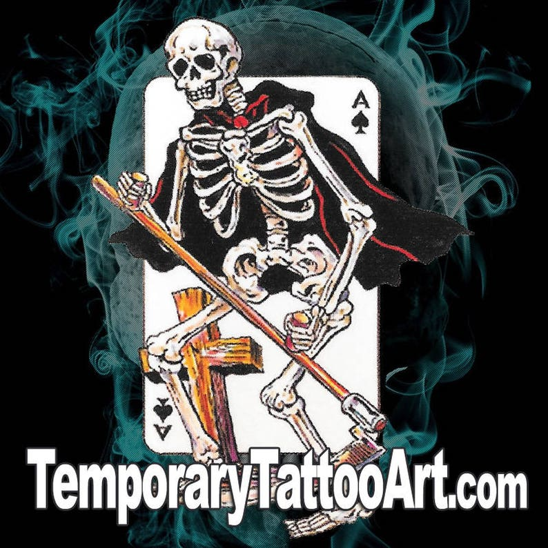 bc7bcceb6 Skeleton Ace of Spades Fake TemporaryTattoo | Etsy
