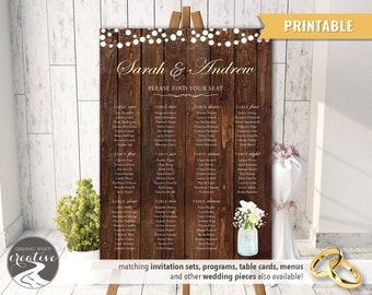 PRINTABLE Personalized Barnboard Mason Jar Rustic Wedding SEATING CHART Seating Plan Poster Sign Wood Lights Mason Jar Flowers, Digital File