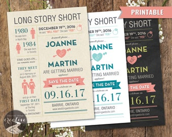 PRINTABLE Personalized Infographic Save the Date Card Invite, Kraft Paper Chalkboard Engagement Card, Reminder, Wedding Couple, Digital File