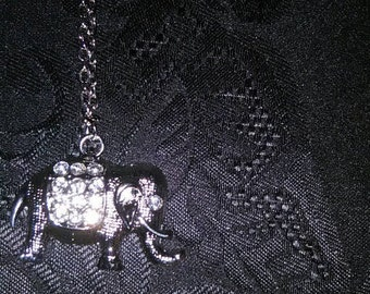 Silver Rhinestone Elephant Necklace
