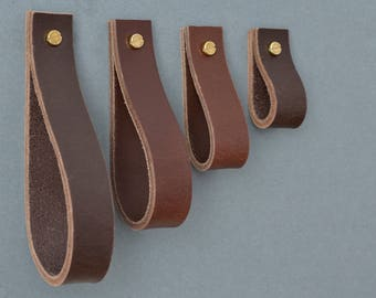 Lade #4 Dark Brown Leather Pull / leather drawer pulls, leather handles, leather knobs, drawer pulls, cabinet pulls, leather handles