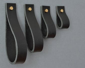 Lade #1 Black Leather Pull / leather drawer pulls, leather handles, leather knobs, drawer pulls, cabinet pulls, leather handle